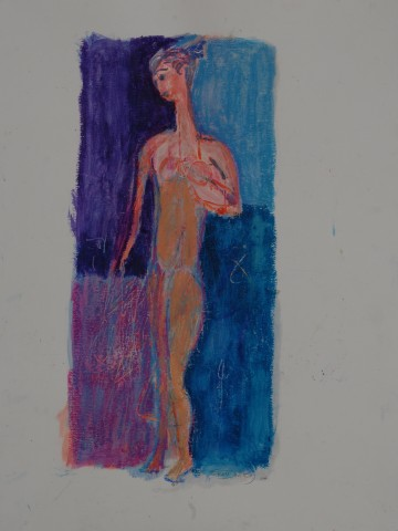 Heather-Standing Model in Mauve and Blue